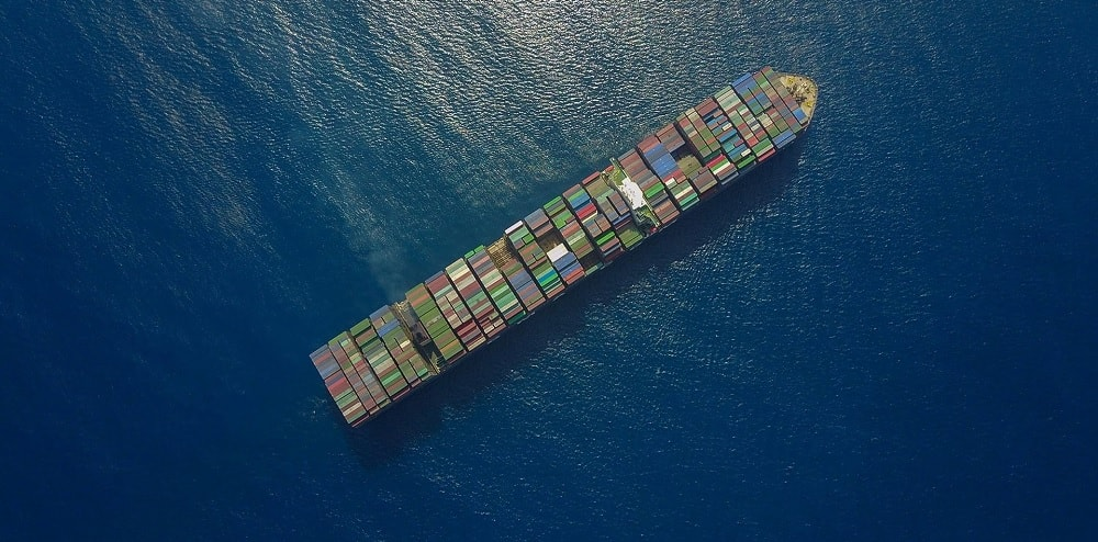 image of container ship from above