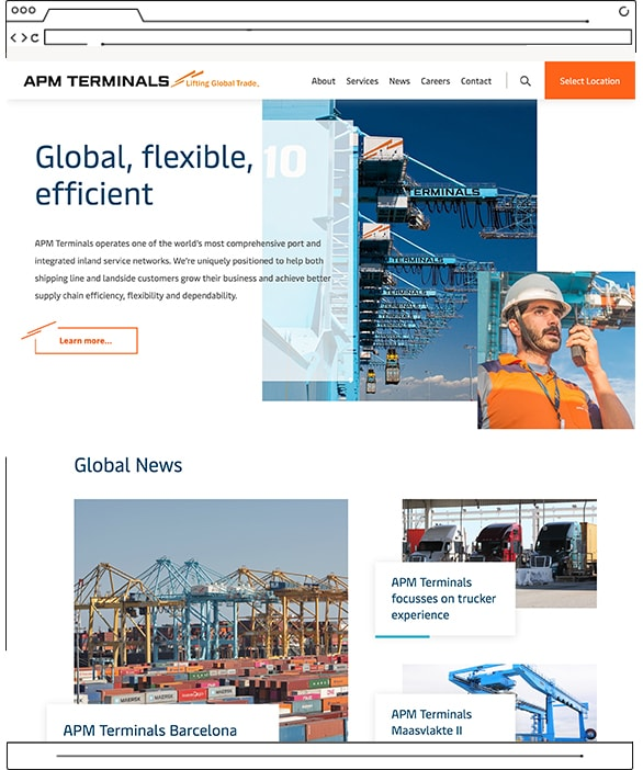 APM Terminals website - desktop view
